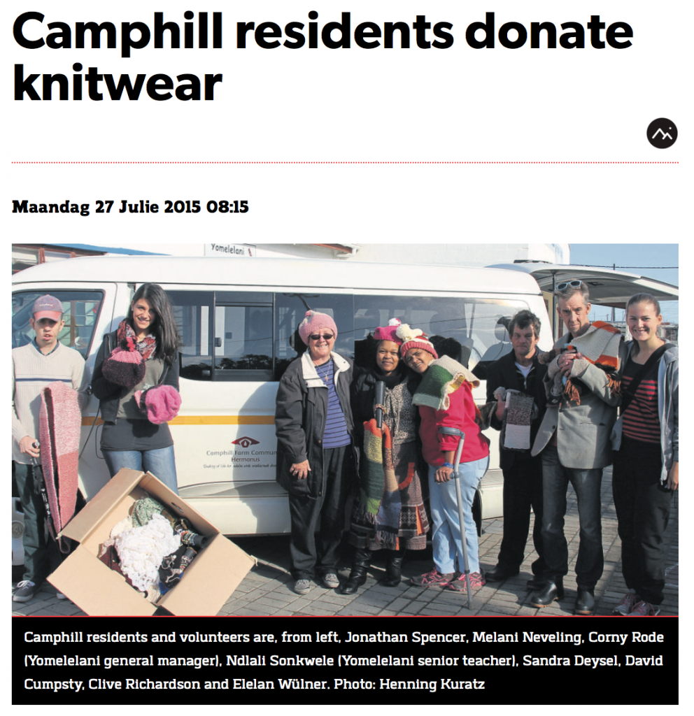 Camphill residents donate knitwear