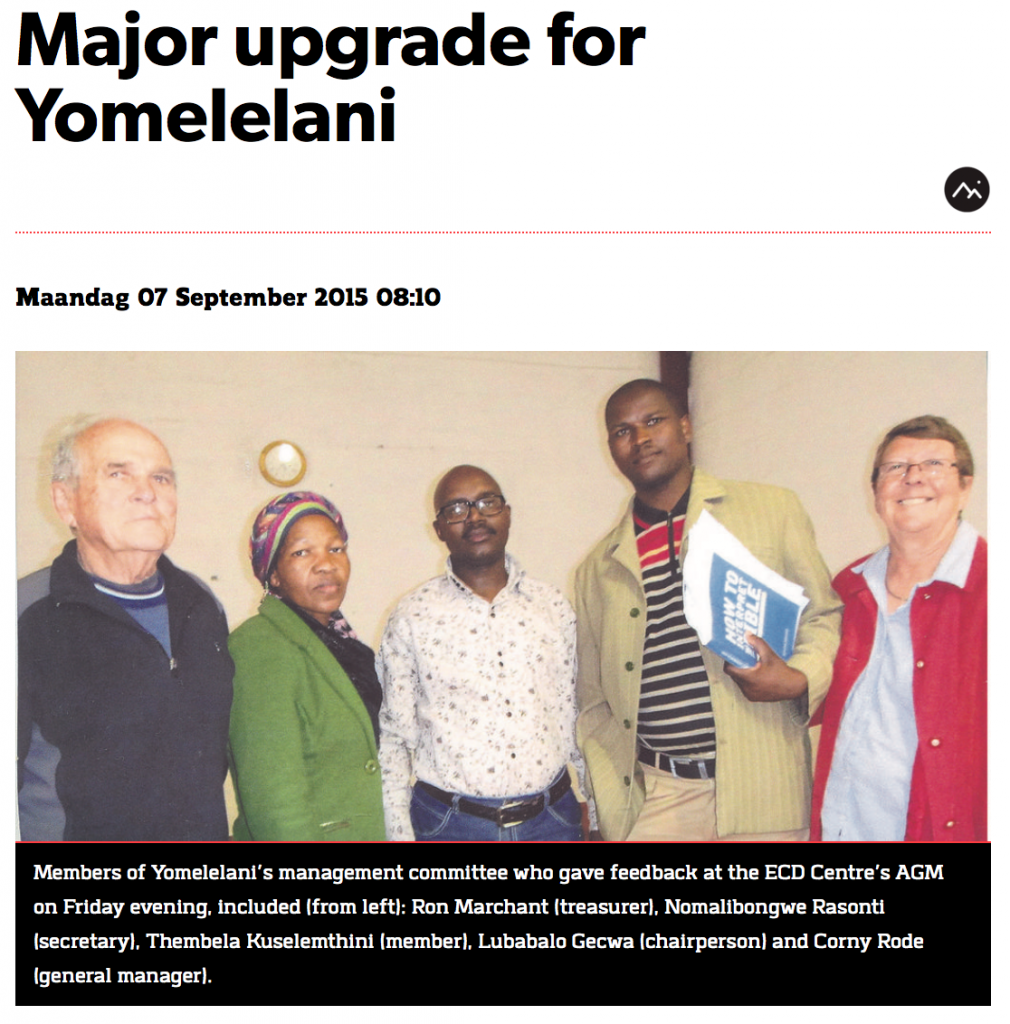Hermanus Times - Major upgrade for Yomelelani