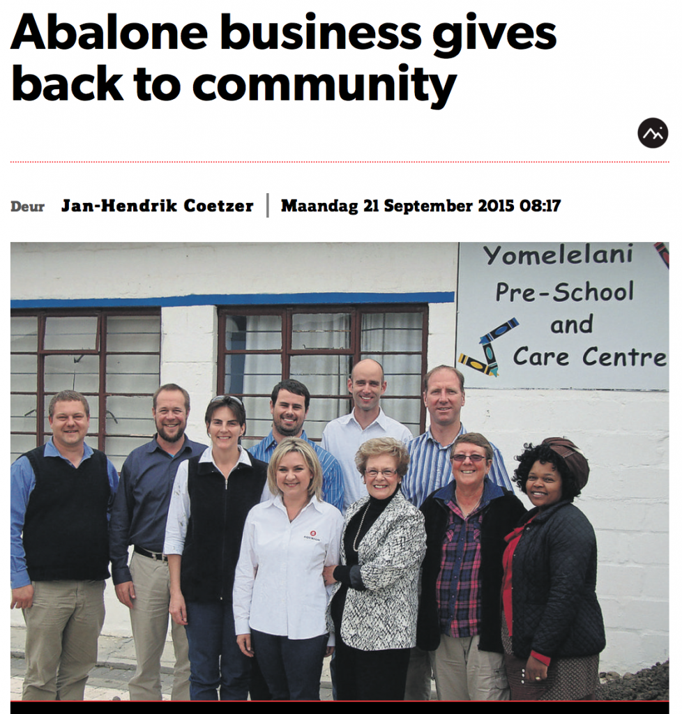 Hermanus Times - Abalone business gives back to community